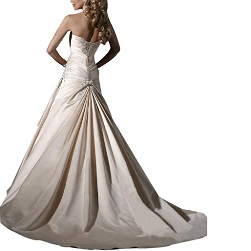 Elegante Brautkleid Satin Spitze Rock BRIDE Hochzeitskleider GEORGE Zug Kapelle Brautkleider mit Weiß 5qwH1XOE