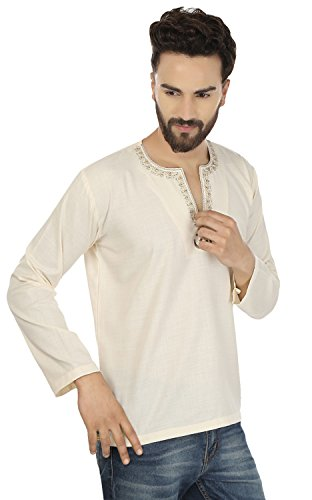 Maple Clothing Fashion Shirt Embroidered Mens Short Kurta Cotton India Clothing