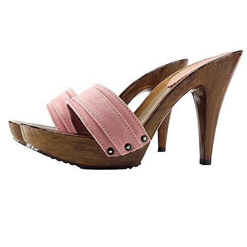 con Zoccolo K21101 kiara shoes Tacco Rosa qFHnESW