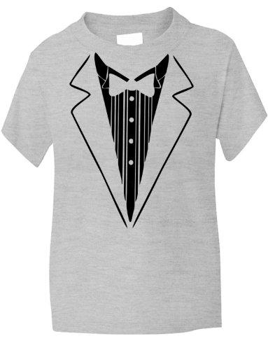 Print4U Tuxedo Fancy Dress Funny Kids T-Shirt 7-8 Grey BLACK TEXT (Kids Fancy Dress Next Day Delivery)