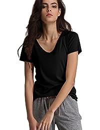 Escalier Women's Basic T-Shirt Short Sleeve V-Neck Shirt Tops Tee