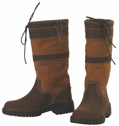 TuffRider Ladies' Low Country Waterproof Short Boots - Drawstring Closure, Contrasting Suede - Chocolate/Fawn - - Fawn Footwear