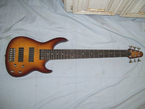 6 string electric Bass Guitar, flamed maple body