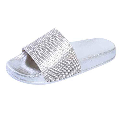 - Womens Flat Slides Sandals Shoes, Sparkly Glitter Diamond Casual Slip On Slippers Flip-Flop for Indoor Outdoor Size 5-7.5 (Silver, US:7)
