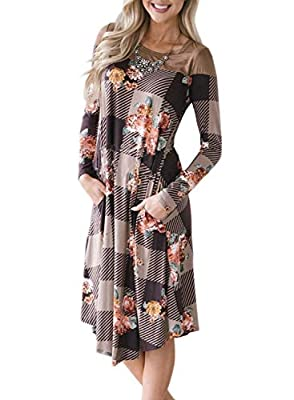 Lovezesent Womens Printed Long Sleeve Casual A Line Swing Midi Dress with Pocket