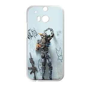 W7E22 ak robot Chappie de carteles de cine arte funda caso R3T6YN funda HTC uno M8 teléfono celular cubren PR1SBM4FN blanco