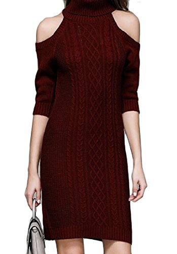 Coolred Women Elegant Knit Cut Out Shoulder High Neck Sweater Dresses Wine Red XS Crochet Halter Sweater Dress