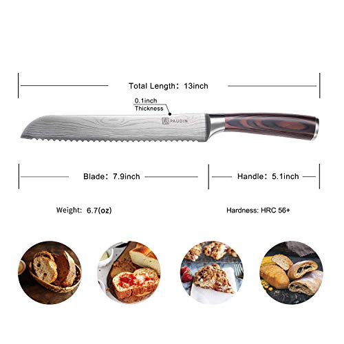 PAUDIN 8 Inch Serrated Bread Knife Cake Slicer Knife, German High Carbon Stainless Steel Knife Kitchen Knife for Cutting Crusty Breads, Cake by PAUDIN (Image #6)