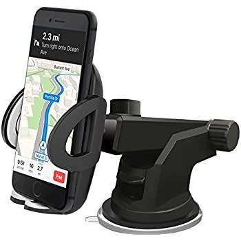 Fellee Car Phone Mount, Universal Car Holder Cell Phone Cradle Support Washable Strong Sticky Gel Pad with One-Touch Design for iPhone X 8 7 6s Plus 6 SE ...