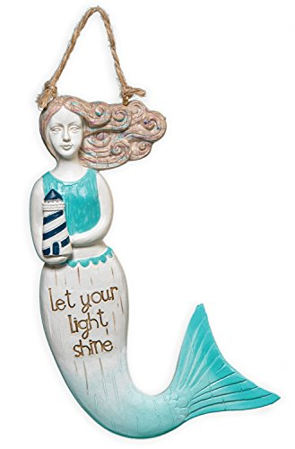 Clementine Designs Teal Blue Mermaid with Lighthouse Let Your Light Shine Wall Plaque