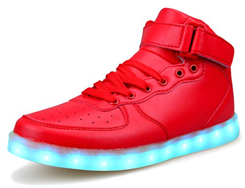 IOO Kid Classic High Top Light Up Shoe for Girl Boy Non Slip Light Sneaker Red Big Kid 37 (Big Boy Press compare prices)