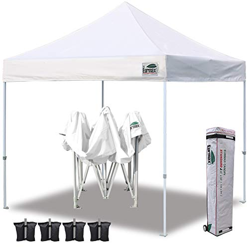 Aluminum Frame 10ft (Eurmax 10'x10' Ez Pop Up Canopy Tent Commercial Shelter with Heavy Duty Roller Bag,Bonus 4 Canopy Sand Bags (White))