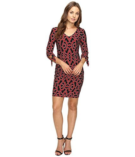 Laundry by Shelli Segal Women's Tie Sleeve Printed Matte Jersey Dress Sultry Red ()