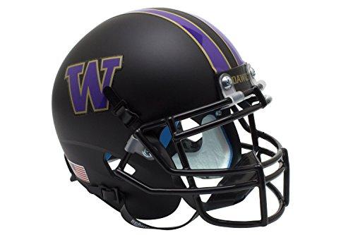NCAA Washington Huskies Matte Black Authentic Helmet, One Size by Schutt
