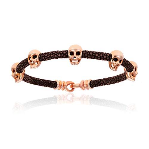 - Double Bone Multi Skull Stingray Bracelet. Genuine Leather Bangle with Rose Gold Skulls for Men and Women (Brown, 17)
