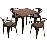 Fancyhouse Kitchen Dining Room Table and 4 Chairs - Set of 5 - Medium Brown Wood Top and Black Metal Legs-Brown