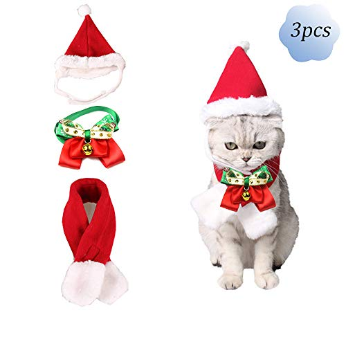 QLINLEAF 3pcs Adorable Christmas Red Pet Santa Hats Scarf Bow Bell Tie Collar Cat Dog Warm Costume...