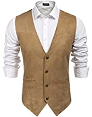 Coofandy Men's Casual Suede Leather Vest Single-Breasted Vest Jacket