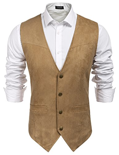 COOFANDY Men's Casual Suede Leather Vest Single-Breasted Vest Jacket (XXXL, Blue-1) (Suede Leather Mens Outerwear Jacket)