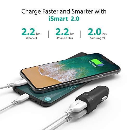 Red iPad Pro Air Mini Galaxy S9 S8 S7 S6 Edge Note and More USB Car Charger RAVPower 24W 4.8A Metal Dual Car Adapter Compatible iPhone 11 Pro Max Xs XS Max XR X 8 7 Plus