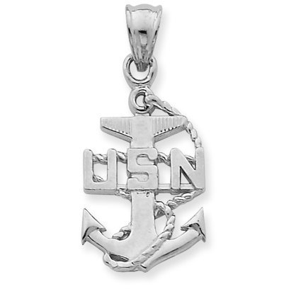 10 ct 471/1000 Or Blanc USA Navy Ancre Symbol Pendentif