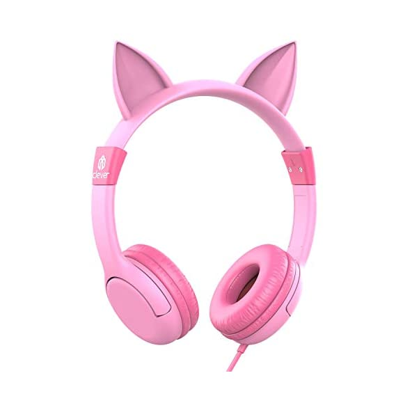iClever Boostcare Kids Headphones Girls - Cat Ear Hello Kitty Wired Headphones for Kids on Ear, 85dB Volume Control