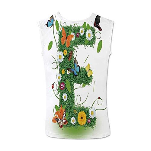 Letter E Comfortable Tank Top,E Symbol Nature Elements Wild Pasture Flowers Daisies Butterflies Colorful for Men,XL