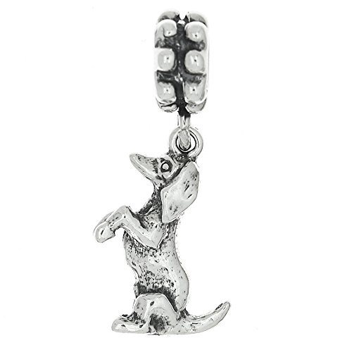 Sterling Silver Sitting up Dachshund Weenie Dog Dangle Bead Charm
