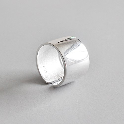 14mm Wide 926 Sterling Silver Plain Big Adjustable Open Finger Ring Cuff Thumb Ring Band by Silbertale (Image #3)