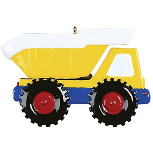Personalized Dump Truck Christmas Tree Ornament 2019 - Yellow Mighty Back Hoe Toy Unload Lift Machine Caterpillar Construction Field Trailer Boy Toddler Holiday Year - Free Customization