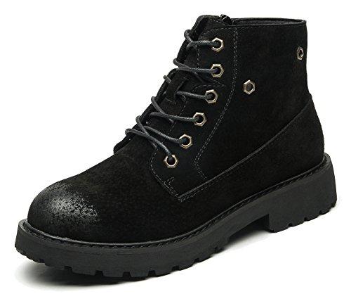 00eaa6e583 uBeauty Damen Leder Stiefel Chelsea Boots Flache Boots Klassischer  Stiefeletten Schnüren Freizeitschuhe Schwarz ...
