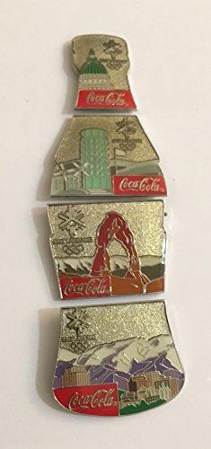 Winter Olympic Pin - Rare Coca-Cola 4 Pin Set SLC 2002 Salt Lake City Winter Olympics Scenic Bottle