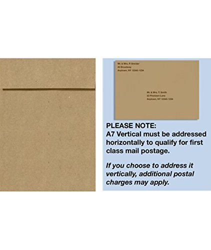 (A7 Vertical Invitation Envelopes w/Peel & Press (7 1/4 x 5 1/4) - Grocery Bag (50 Qty) | Perfect for Invitations, Announcements, Sending Cards, 5x7 Photos | 4880V-GB-50)
