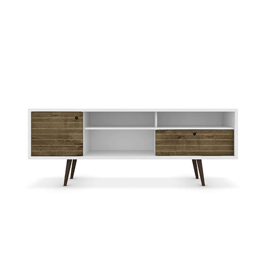 Manhattan Comfort Liberty Collection Mid Century Modern TV Stand With Three Shelves, One Cabinet and One Drawer With Splayed Legs, White/Wood by Manhattan Comfort
