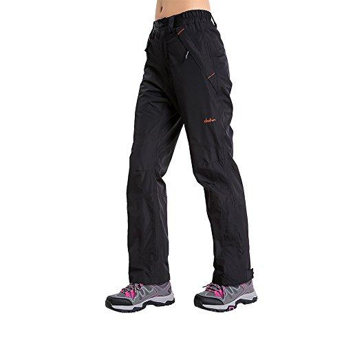 Clothin Womens Snow Ski Pants / Waterproof/ Snowboard Pants - DWR Treated - Adjustable Gaiter(US 6-8,Black)