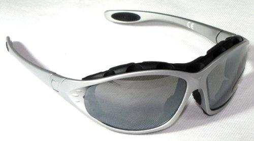 SPEQ Multisportbrille, Ski Brille, Multi Sportbrille inkl. 2 Wechselscheiben, stabilem Hardcase und zusätslicher Microfasertasche, 100% UV -Schutz, Silber