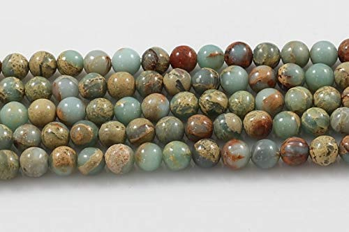 Pukido 100% Natural African Opal Sea Sediment Jaspe r Beads,Imperial Stone Loose Beads Supplies 4mm 6mm 8mm 10mm 12mm 1strand - (Item Diameter: 4mm)