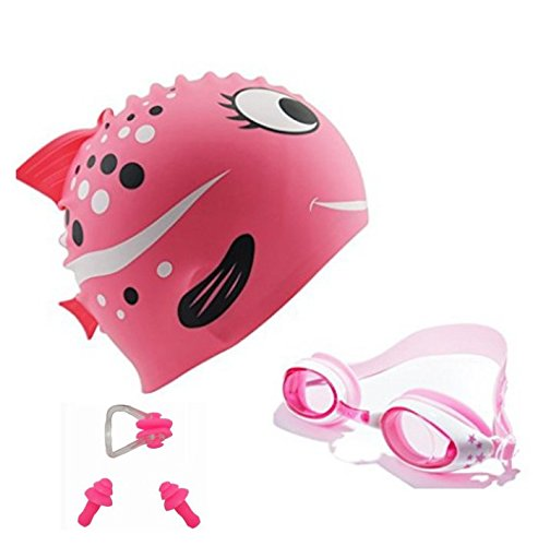 Kids Swim Cap, Swimming Goggles with 3 Adjustable Nose Bridge & Protected Anti-Fog and Ear Plugs for age 5 to 12 yrs (Pink)