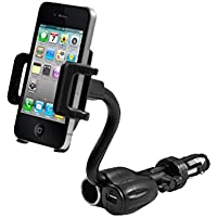 3 in 1 Cell Phone & PDA Car Mount w/ USB Port Charger and Cigarette Power Outlet-Rotating-Flexible-iPhone7/Plus/6s/6, Samsung S8/S7/S6/S5, Nexus 6P / 5X, LG G5, HTC 10 and more devices - by Cellet