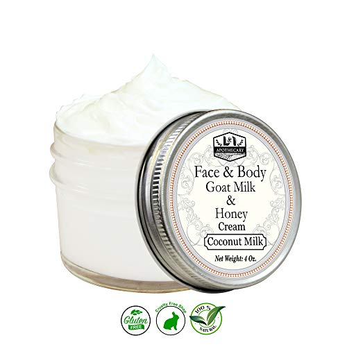Organic Goat Milk & Honey Whipped Face & Body Cream, Silky smooth, Moisturizing, Hydrating and Soothing, Anti-Oxidant, Anti-Inflammatory (Coconut Milk)