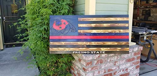 Iliogine Home Plaque Sign Fresno State College Bulldogs Wood Flag Printed Stars School Spirit Rustic Sign Gift Dorm Decor Football Sports Logo Distressed Burned Wooden Sign