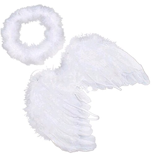 Juicart Baby Kids Feather Fairy White Angel Wings Halo Party Photo Props
