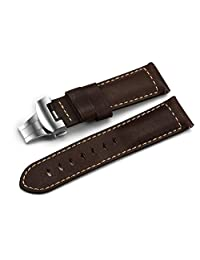 iStrap 24mm Asso Leather Strap Military Ammo Watch Band With Stainless Steel Deployment Clasp - Brown
