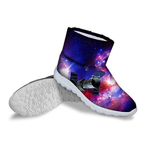 För U Designar Varma Vintern Kort Snö Boot Med Plats Galax Mönster Vattentät Multi 1