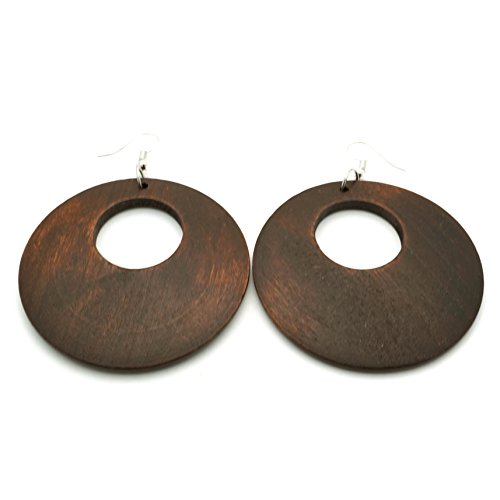 Teri's Boutique Heritage Boho Wood Light Weight Fashion Jewelry Round Dangle Earrings (Dark - Earrings Wood Brown