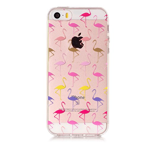 iPhone 5 5S SE Hülle , Leiai Modisch Flamingo TPU Transparent Clear Weich Tasche Schutzhülle Silikon Handyhülle Stoßdämpfende Schale Fall Case Shell für Apple iPhone 5 5S SE