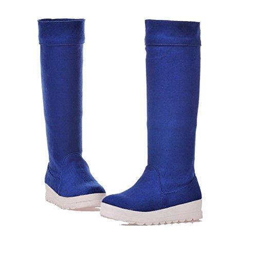 AllhqFashion Mujeres Puntera Redonda Mini Tacón Esmerilado Caña Alta Sólido Botas Azul