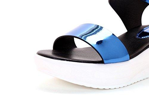 AllhqFashion Mujeres Puntera Abierta Plataforma Charol Sólido Velcro Sandalia Azul