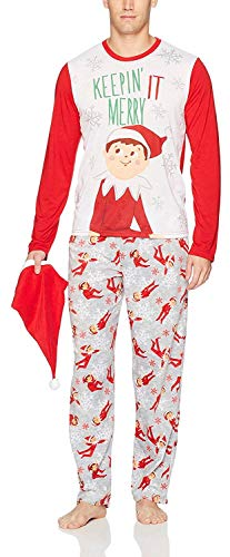 Elf on The Shelf Family Sleep 2-Piece Set Or Footie with Hat, Men Red, M -