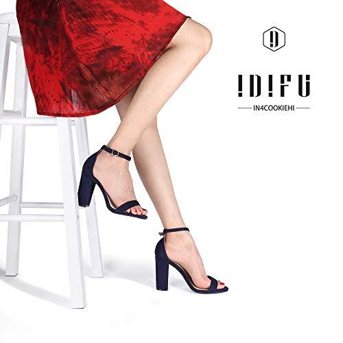 IDIFU Women's IN4 Cookie-HI Chunky Block High Heel Open Toe Ankle Strap Dress Party Wedding Pump Sandals